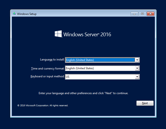 Installing Windows Server 2016 02